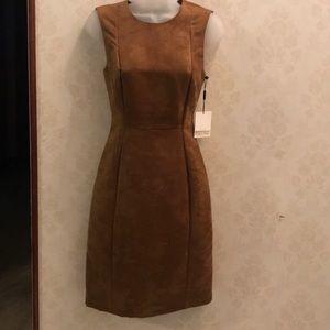 Calvin Klein Faux Suede Sheath Dress Color-Nut 2